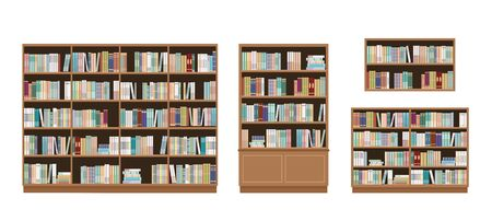 Bookcases and bookshelves full of books. Isolated on white background. Education library and bookstore concept. Vector illustration.