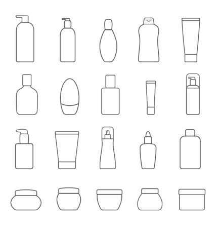 Set of different cosmetic products. Isolated on white background. Modern thin line icons for Web and Mobile. Vector illustration.