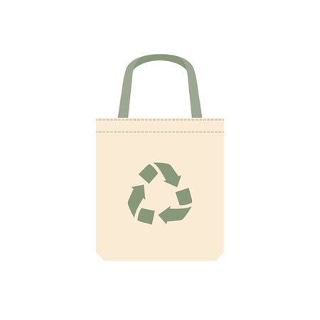 Fabric bag with recycling symbol. Isolated on white background. Replacement plastic bags. Flat vector illustration.