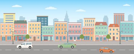City life illustration with house facades, road and other urban details. Panoramic view. Flat style, vector illustration.  イラスト・ベクター素材