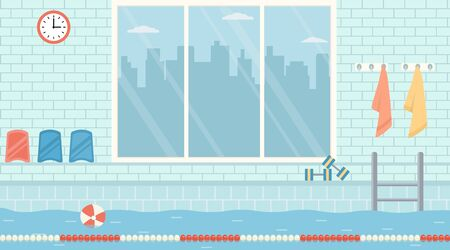 Empty public swimming pool with big window. Flat design vector illustration.