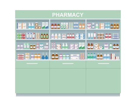 Pharmacy shelves with medicines. Large rack isolated on white background. Concept of pharmaceutics and medication. Vector illustration.