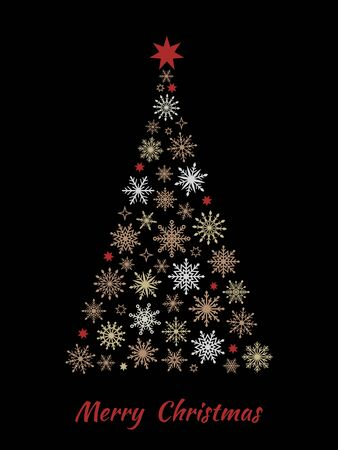 Christmas tree made from snowflakes isolated on black background. Vector illustration.
