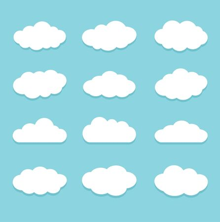 Collection of cloud icons. Isolated on light blue background. Flat style vector illustration.  イラスト・ベクター素材