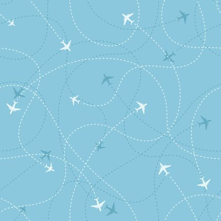 Aircraft destinations icons on blue background. Abstract seamless pattern. Vector illustration.