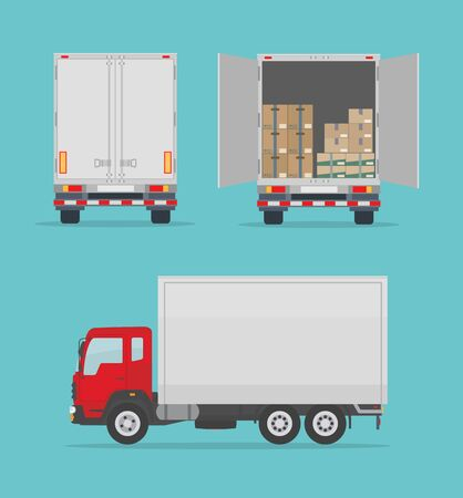 Delivery truck isolated on blue background. Side and back view. Transport services, logistics and freight of goods. Flat style, vector illustration.