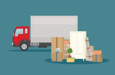 Moving into new House. Delivery truck, furniture and cardboard boxes. Isolated on dark blue background. Transport services and freight of goods. Flat style, vector illustration.