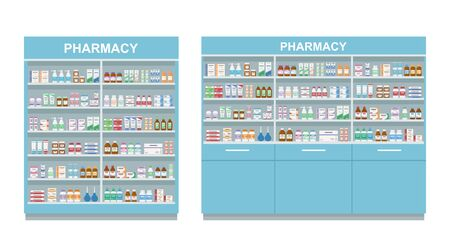 Pharmacy shelves with medicines. Two large racks isolated on white background. Concept of pharmaceutics and medication. Vector illustration.