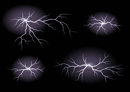 Set of lightnings isolated on black background. Thunderstorm and lightning. Vector illustration.