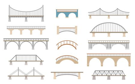 Set of different bridges. Isolated on white background. Flat style, vector illustration. 矢量图像