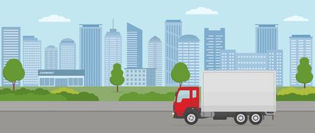 Truck on modern city background. Transport services and freight of goods concepts. Flat style vector illustration.