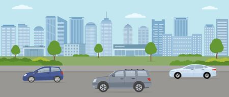 Modern city. City life illustration with house facades, road and other urban details. Panoramic view. Flat style, vector illustration.