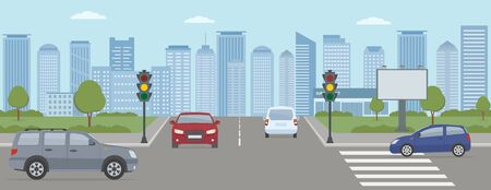 Crossroads with cars and traffic lights. Modern city life illustration. Panoramic view. Flat style, vector illustration.