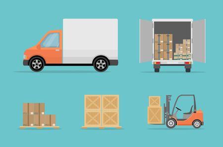 Delivery truck, forklift and different boxes. Isolated on blue background. Warehouse Equipment, cargo delivery, storage service concept. Flat style, vector illustration.