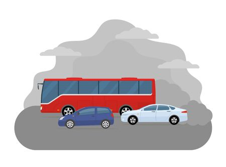 Pollution from the exhaust of cars. Ecology problems concept. Flat style, vector illustration. 矢量图像