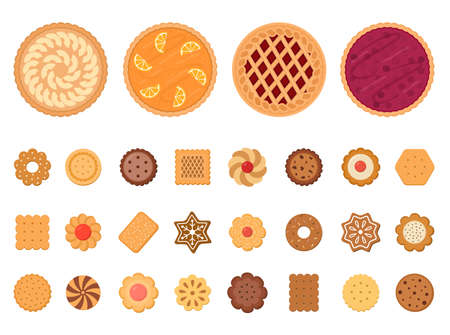 Set of fruit pies and cookies. Isolated on white background. Vector illustration.