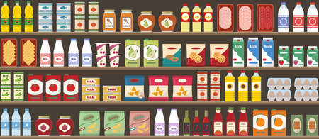 Supermarkets shelves with products and drinks. Seamless pattern. Shopping and food retail concept. Vector illustration.