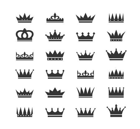 Set of crown icons. Collection of crown awards for winners, champions, leadership. Vector isolated elements