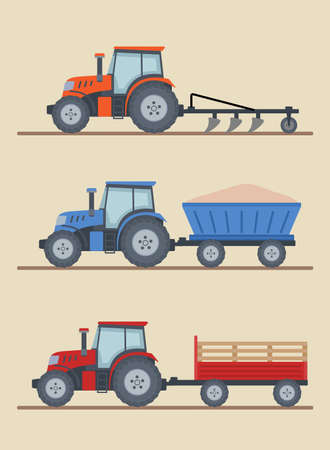 Three farm tractors isolated on beige background. Heavy agricultural machinery for field work. Flat style, vector illustration.
