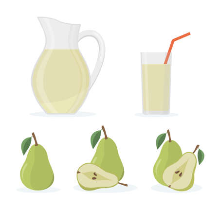 Set of fresh whole and cut pear, jug and glass of pear juice. Isolated on white background. Flat style vector illustration. 矢量图像