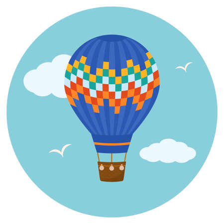 Hot air balloon in the sky with clouds. Flat design, vector illustration.