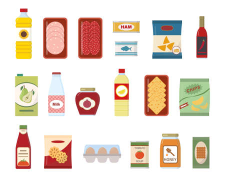 Food and drink set. Collection of flat vector icons. Isolated on white background. 矢量图像