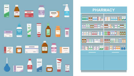 Large rack with medicines isolated on white background. And set of tablets, sprayers and bottles for illness and pain treatment. Concept of pharmaceutics and medication. Vector illustration.