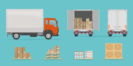 Delivery truck side and back view, and different boxes. Isolated on blue background. Warehouse Equipment, cargo delivery, storage service concept. Flat style, vector illustration.