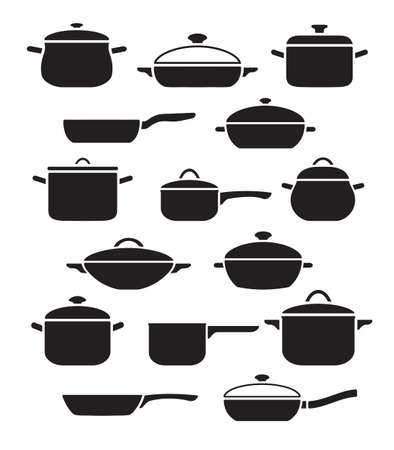 Vector set of kitchen utensils. Collection black and white pots and pans with lids. 矢量图像