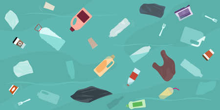 Ocean pollution, plastic bottles and trash in water. Top view. Ecology problems concept. Flat style, vector illustration. 矢量图像