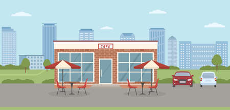 Cafe building with parking lot on city background. Urban landscape. Flat style, vector illustration. 矢量图像