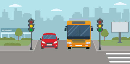 Red car and bus stopped at a traffic light. Modern city life illustration. Panoramic view. Flat style, vector illustration.