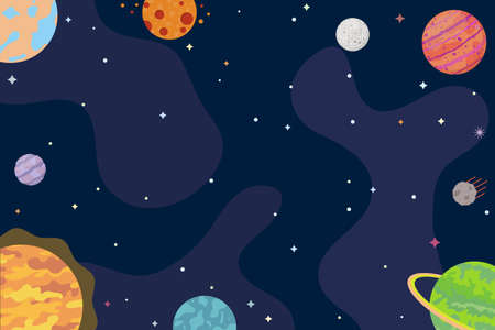 Space background. Abstract planets, universe, cosmos, interstellar travels. Vector illustration. 矢量图像