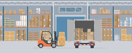 Delivery truck and forklift truck in warehouse hangar interior. Warehouse Equipment, cargo delivery, storage service. Vector illustration.