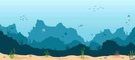 Sea underwater background. Marine sea bottom with underwater plants, corals and fishs. Panoramic seascape. Vector illustration. 矢量图像