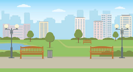 Empty city park with benchs, lawn and pond. Panoramic view. Summer landscape vector illustration.