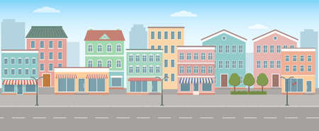 City life illustration with house facades, road and other urban details. Panoramic view. Flat style, vector illustration. 矢量图像