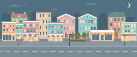 City life illustration with house facades, road and other urban details. Night panoramic view. Flat style, vector illustration. 矢量图像