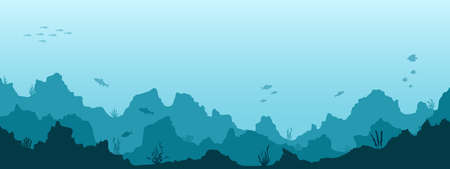 Sea underwater background. Marine sea bottom with underwater plants, corals and fishes. Panoramic seascape. Vector illustration.