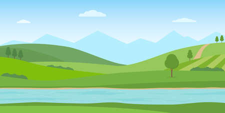 Panoramic summer landscape. Rural scenery with river, green hills and mountains. Vector illustration. 矢量图像