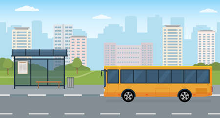 Bus and bus stop on modern city background. Concept of public transport. Panoramic view. Flat style, vector illustration.