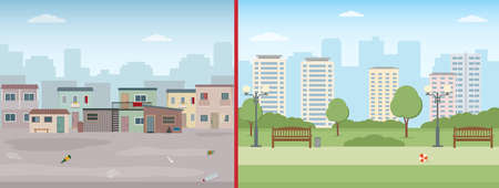 Old ruined houses and modern city. Contrast of modern buildings and poor slums. Flat style vector illustration.