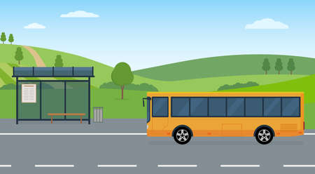 Rural landscape with road, bus stop and moving bus. Concept of public transport. Panoramic view. Flat style, vector illustration. 矢量图像