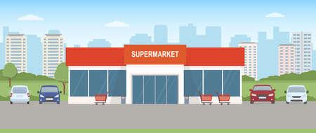 Supermarket building with parking lot. Urban landscape. Flat style, vector illustration.