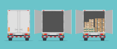 Delivery truck back view. Isolated on blue background. Closed, opened and opened with boxes. Transport services, logistics and freight of goods. Flat style, vector illustration.
