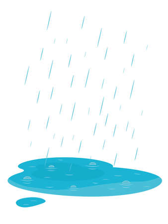 Falling rain and puddle. Autumn weather. Isolated on white background. Cartoon style vector Illustration. Ilustracja