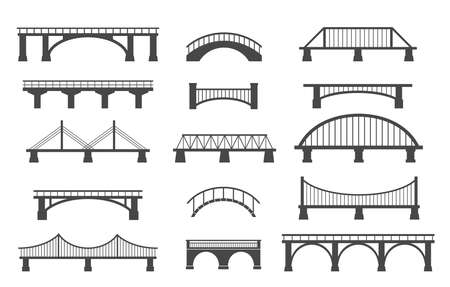 Set of different bridges. Isolated on white background. Black and white. Vector illustration.
