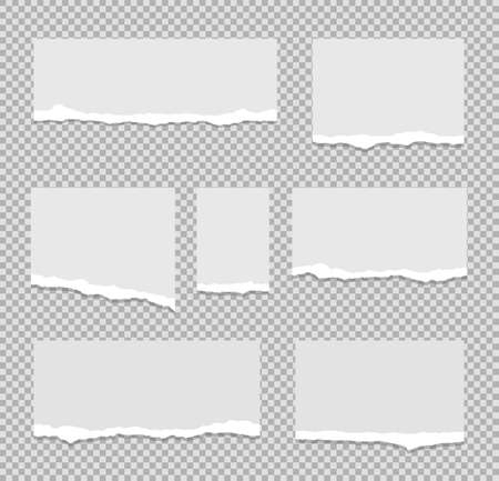 Collection of paper with torn edges for text, advertising or design. Isolated on transparent background. Vector illustration.