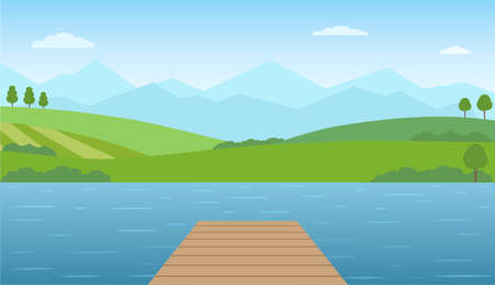 Empty wooden pier at lake. Panoramic summer landscape. Rural scenery with lake, green hills and mountains. Vector illustration. Ilustracja