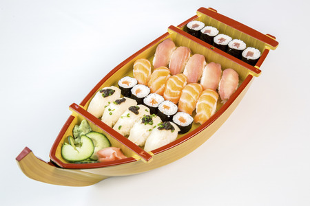 sushi wooden boat on white background Reklamní fotografie